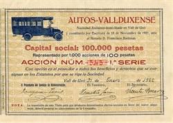 Auto - Vallduxense - Valencia, Spain 1922