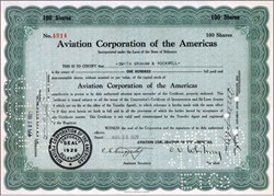 Aviation Corporation of America 1929 - 1930 (Early Pan American Airlines)