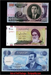 Axis of Evil paper money package - Iran, Iraq and North Korea featuring Saddam Hussein,  Ayatollah Khomeini, and Kim Il Sung