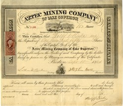 Aztec Mining Company of Lake Superior (Only 5 known per Lee De Good Book) - Michigan 1864