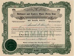 Baltimore and Eastern Shore Ferry Line ( Pre Bay Bridge ) - Baltimore,  Maryland 1920