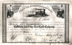 Baltimore and Ohio Rail-Road Company handsigned by Johns Hopkins - 1860