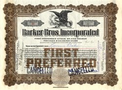 Barker Bros. Inc. signed by Lawrence Barker  - Famous Los Angeles Furniture Store  1924