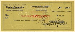 Bank Check hand signed by Rosalind Russell - California 1946