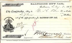Baltimore City Jail Check signed by the Warden - Baltimore, Maryland 1887