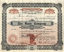Basic Company (issued to Stilson Hutchins, Washington Post founder)  - Maine 1906