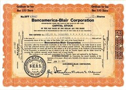 Bancamerica-Blair Corporation - New York 1937