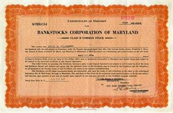 Bankstocks Corporation of Maryland - Maryland 1937