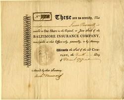 Baltimore Insurance Company RARE - Maryland 1797