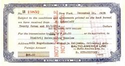Baltic - America Line Money Order Receipt