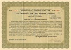 Baltimore and Ohio Rail Road Company 1930 - Subscription Warrant