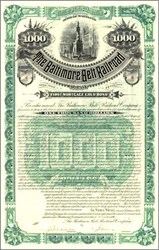 Baltimore Belt Railroad 1890 - $1,000 Gold Bond