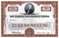 Baldwin Locomotive Works Stock Certificate - Pennsylvania 1950