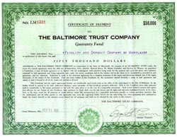 Baltimore Trust Company 1931 - $50,000 Certificate of Payment