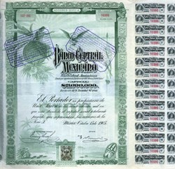 "Banco Central Mexicano ""Blueberry"" – uncancelled, with coupons - Mexico 1905"