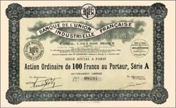 Banque de L'Union Industrielle Francaise 1928