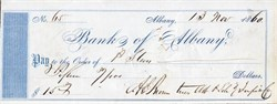 Albany & Schenectady Turnpike Company Check - Albany, New York - 1859