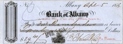 Albany and Schenectady Turnpike Company Dividend Check - Bank of Albany - New York 1854