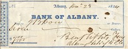 Albany and Schenectady Turnpike Company Check - Bank of Albany - New York 1854