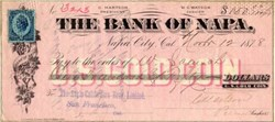 Bank of Napa signed by Hon. Chancellor Hartson - Napa City, California 1878