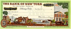Bank of New York Five Dollar Money Order from Freedomland USA Amusement Park - New York 1960