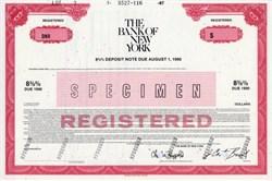 Bank of New York Deposit Note - New York 1987