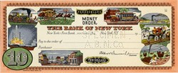 Bank of New York Ten Dollar Money Order from Freedomland USA Amusement Park - New York 1960