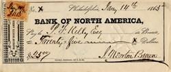 Bank of North America Check - Pennsylvania 1865