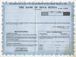 Bank of Nova Scotia Specimen Warrant - Canada 1970
