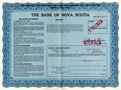 Bank of Nova Scotia Specimen Warrant - Canada 1958