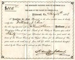 Bank of the Valley in Virginia - Richmond, Virginia 1868
