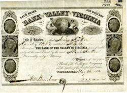 Bank of the Valley in Virginia - Winchester, Virginia  1853