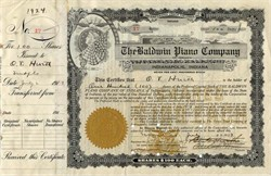 Baldwin Piano Company - Indiana 1919