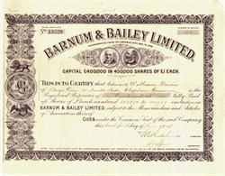 Barnum & Bailey Limited (Uncancelled)  -  England, 1904 - RARE