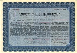 Barrett Run Coal Company - Pennsylvania 1925