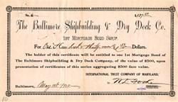 Baltimore Shipbuilding & Dry Dock Co. 1st Mortgage Bond Scrip - Maryland 1902