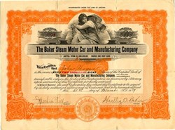 Baker Steam Motor Car and Manufacturing Company (Stanley Steamer) signed Har                                                                             tley O. Baker - Arizona 1921