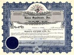 Balco Syndicate, Inc. - Massachusetts 1922