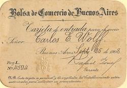 Buenos Aires Stock Exchange (Bolsa de Comercio de Buenos Aires) Membership Card - 1908