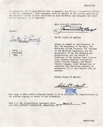 Bell Aircraft Corporation document handsigned by Founder, Lawrence Bell on March 27, 1945