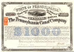 Pennsylvania Canal Company signed by Civil War Brigadier General Isaac Jones Wistar - 1870