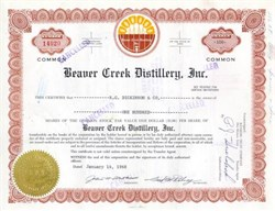 Beaver Creek Distillery, Inc Stock Certificate