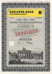 Berliner Bank Aktiengesellschaft (Brandenburg Gate Vignette)  - Germany 1990