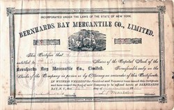 Bernhards Bay Mercantile Co., Limited - New York 1890