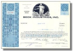 Beck Industries Stock Certificate 1969 -1970 (Judy's clothing stores and W. J. Sloan)