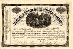 Bertha & Edith Gold Mining Company - Virginia 1878