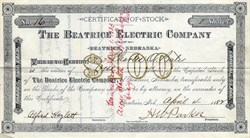 Beatrice Electric Company - Beatrice, Nebraska 1882