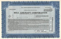 Bell Aircraft Corporation - IPO Specimen Certificate 1939