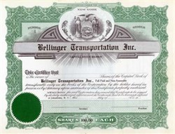 Bellinger Transportation Inc. 1940's
