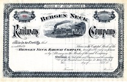 Bergen Neck Railway Company - New Jersey 1885